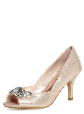 c67cfab86089 Blush shimmer peep-toe court shoes - Dorothy Perkins