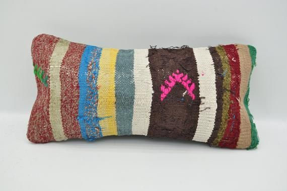 "kilim pillow turkish kilim pillow 8""x16""lumbar pillow bedroom pillow throw pillow multicolor kilim p"