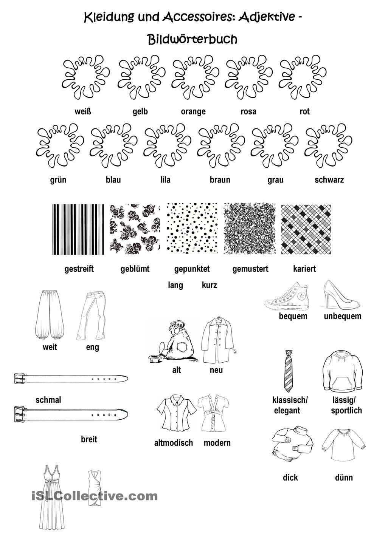 Kleidung und Accessoires, Teil II - Bilderwörterbuch: Adjektive ...