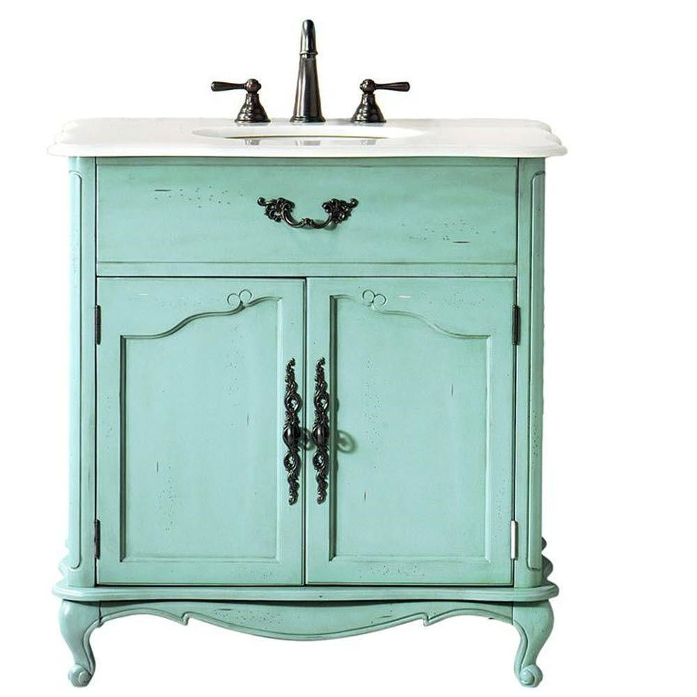 Home Decorators Collection Provence 33 In. W X 22 In. D Bath Vanity In Blue  With Natural Marble Vanity Top In White