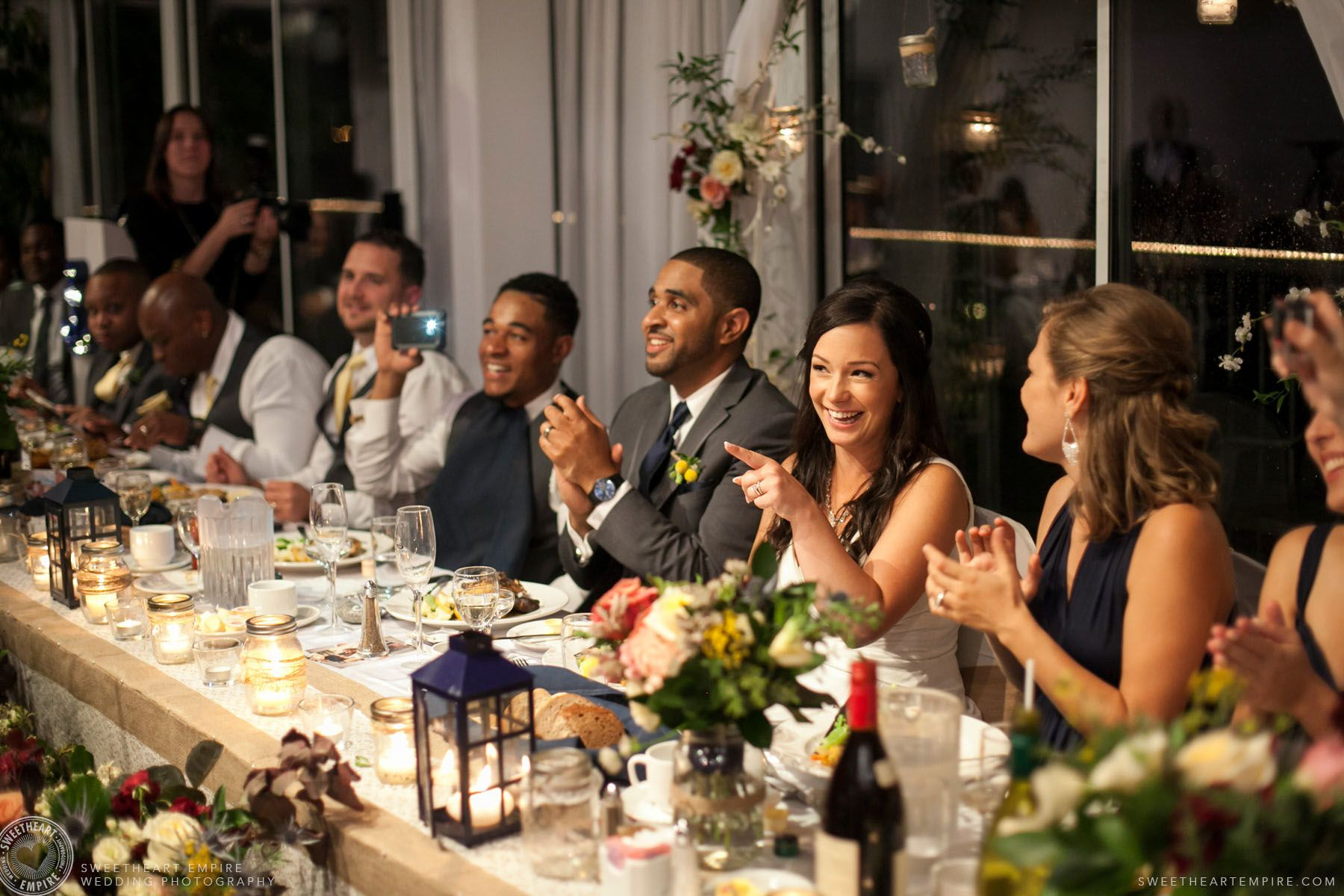 Bluffers Park Restaurant Head Table Scarborough Bluffs Wedding Sweetheartempirephotography