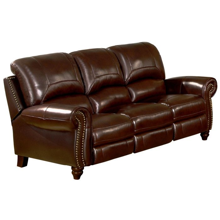 You\'ll love the Kahle Leather Pusback Reclining Sofa in ...