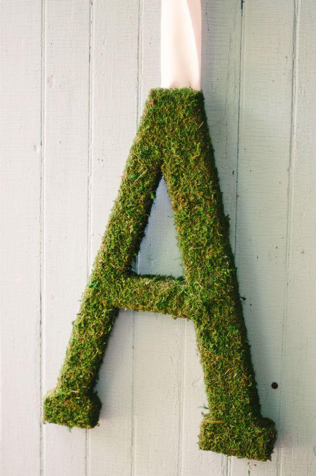 "Moss Covered Letters Moss Covered Letters  I Have A ""k""  Thinking Front Door Wreath"