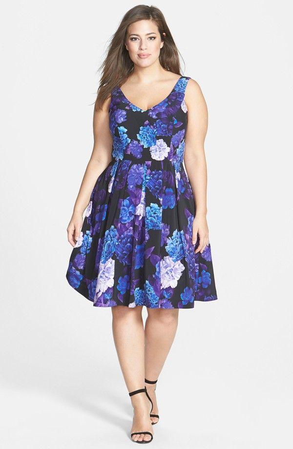 Plus Size Hydrangea Print Dress   Outfit   Pinterest   Vestiditos ...