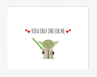 Star Wars Card Printable Yoda Only One For Me Anniversary
