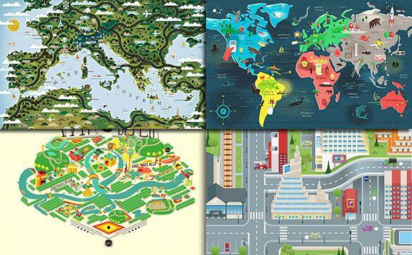 Beautiful Map Illustration Design Inspiration Graphics For Web