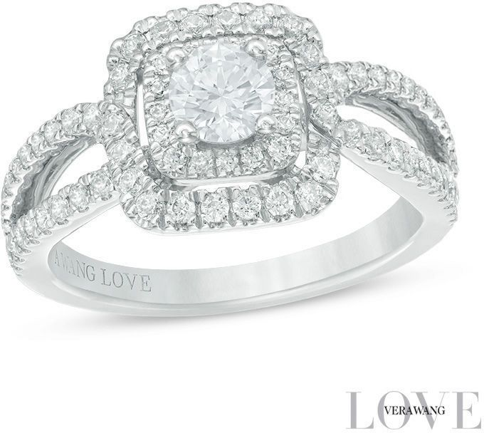 Vera Wang Love Collection 1 CT. T.W. Diamond Double Frame Engagement ...