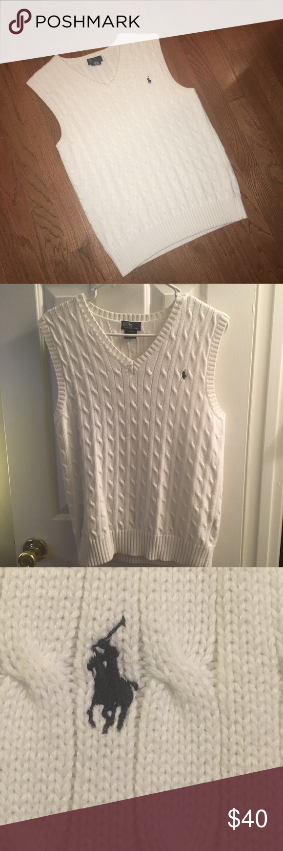 White Cable Lauren By Vest Knit Sweater Polo Ralph Nv8nwm0O