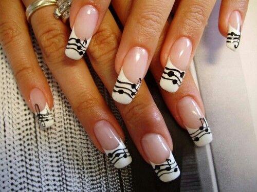 Music notes nail art
