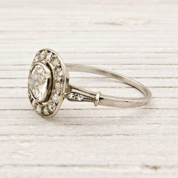 early art deco engagement ring circa featuring a carat egl certified old european cut diamond with g h color and clarity encircled with single cut - Old Wedding Rings