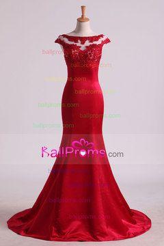 2016 Mermaid Prom Dresses Scoop Satin & Tulle Burgundy/Maroon With Beading Sweep Train US$ 169.99 BAPLREZ1Z6 - BallProms.com for mobile
