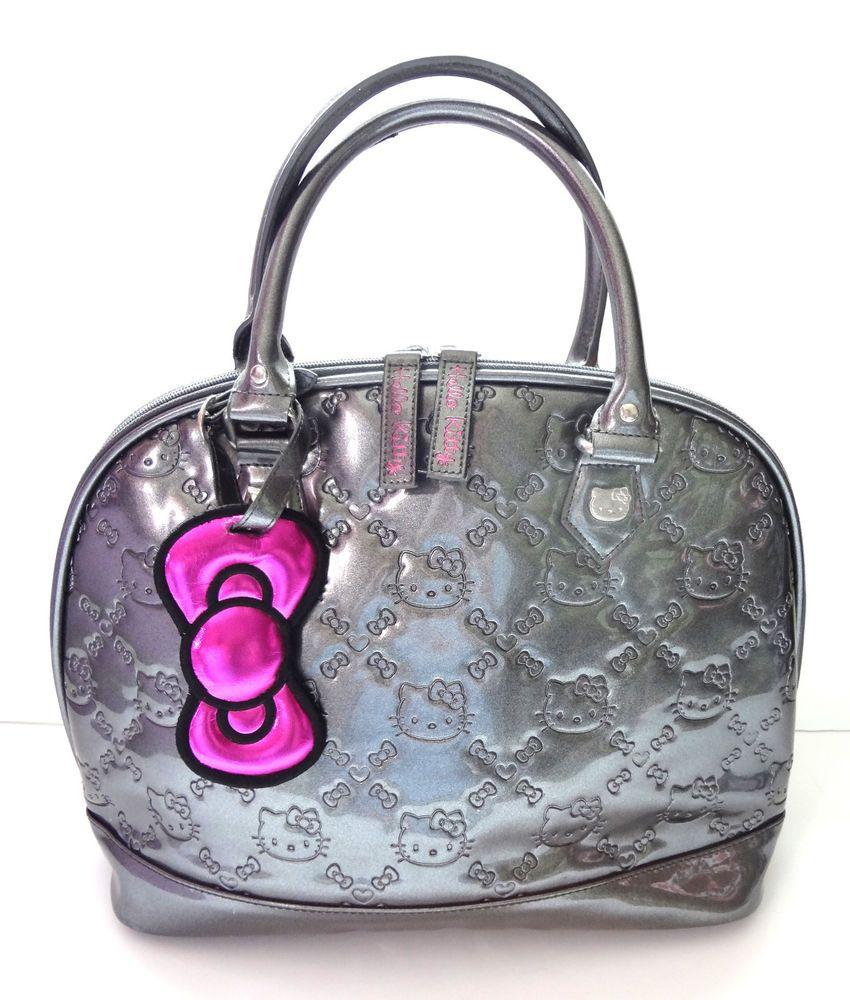 35912f55c Purse Metallic Hello Kitty Sanrio Bag Gun Metal Gray Patent Embossed Hand  Bag