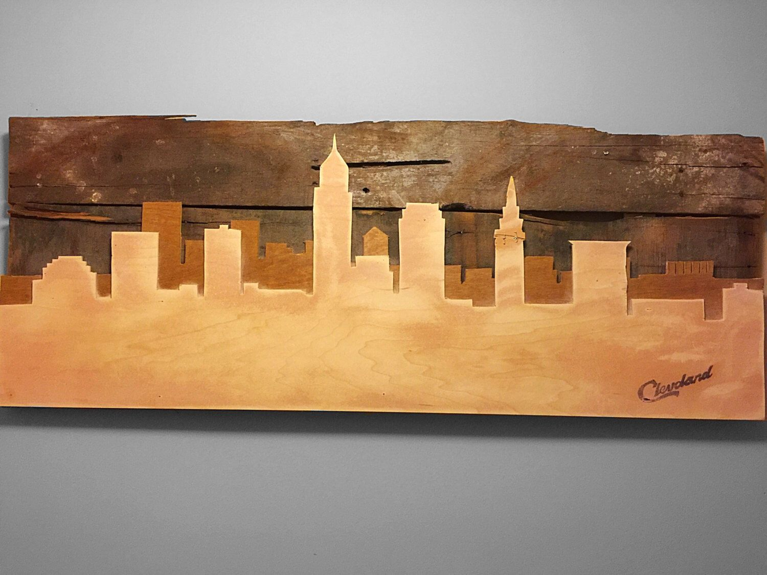 Rustic Cleveland Skyline Double Layer Cutout by RaymondJamesRustic ...