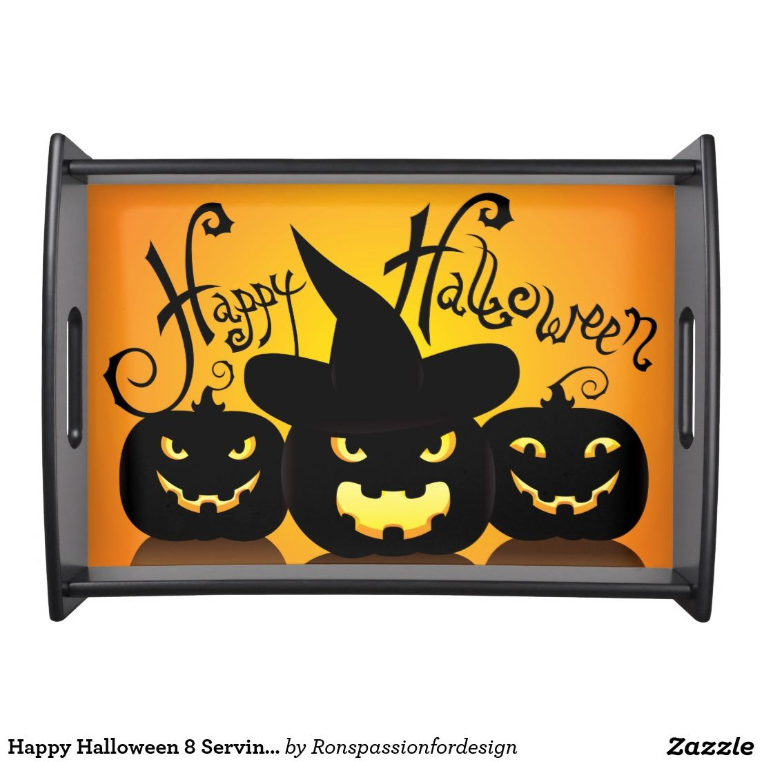 Here is a spooky pumpkin serving tray that will add some Halloween flair to any party of holiday gathering. A trio of scary pumpkins stare out with the words Happy Halloween written above. #orange #autumn #home #decor