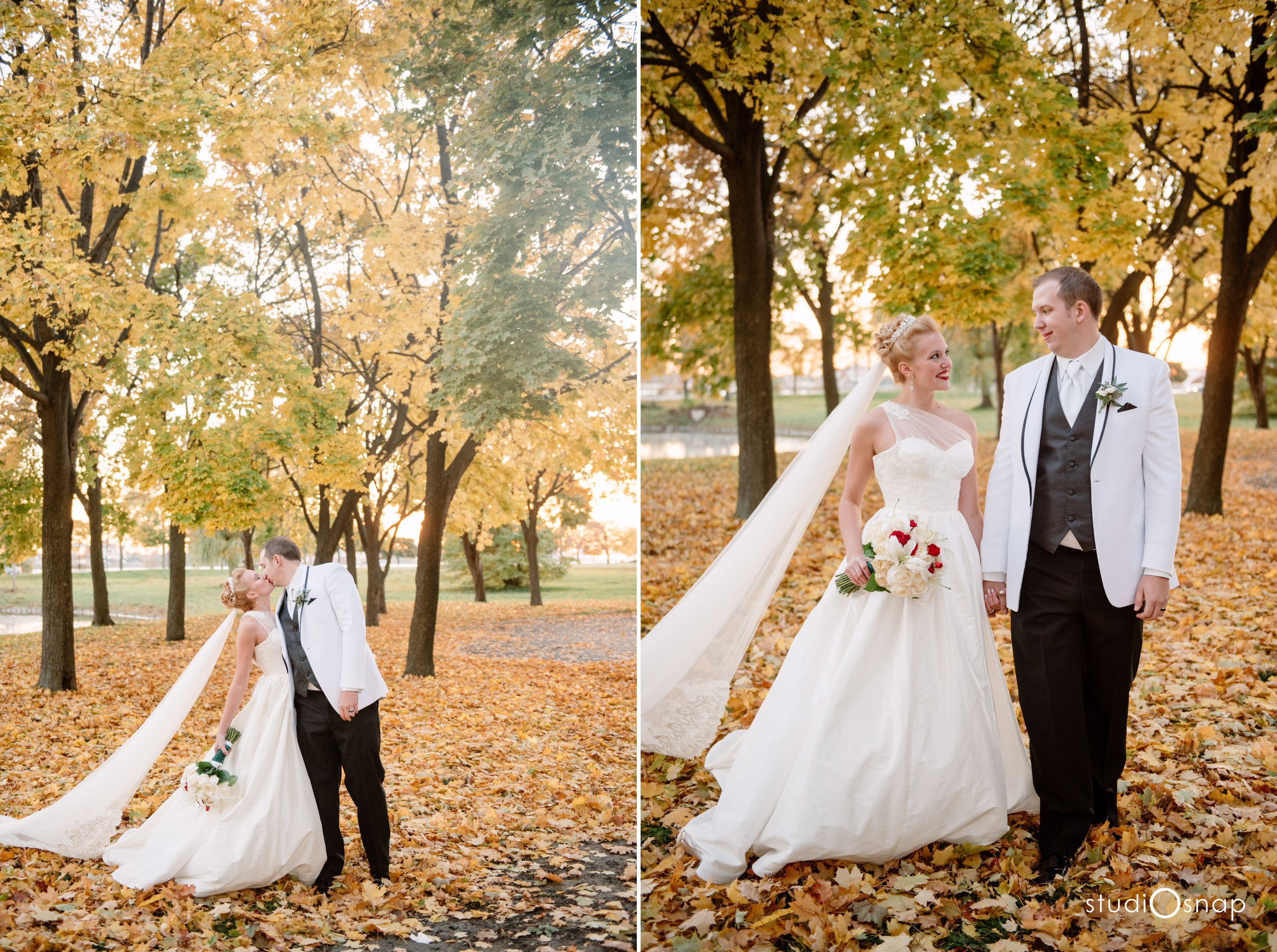Belle Isle Wedding State Park Outdoor Fall Modern Michigan Venue Leaves Detroit Photographer Photos