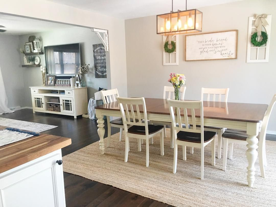 Dining Room Dining Room Decor Open Concept Dining And Living Farmhouse Table Natural Rug Dining Room Open Dining Room Wood Dining Room Home Decor Kitchen