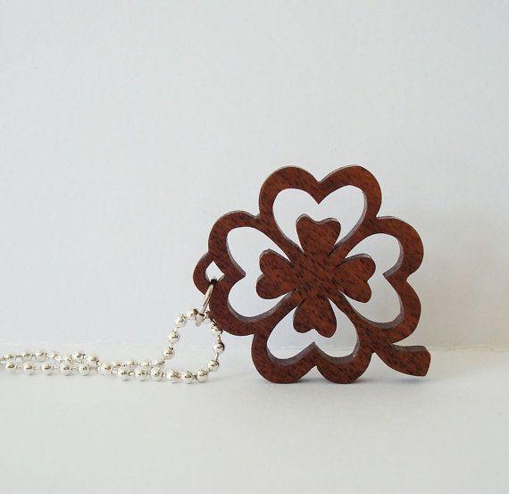 Four Leaf Clover Shamrock Necklace St. by OohLookItsARabbit