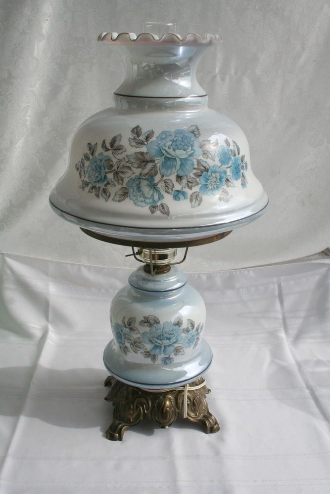 da89ef25a785 VINTAGE HURRICANE LAMP GWTW BLUE FLORAL PARLOR LAMP~My Grandparents had 2  of these matching in similar colors sitting on antique occasional tables.  Pretty!