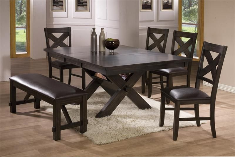 Rustic Oak Round Dining Set