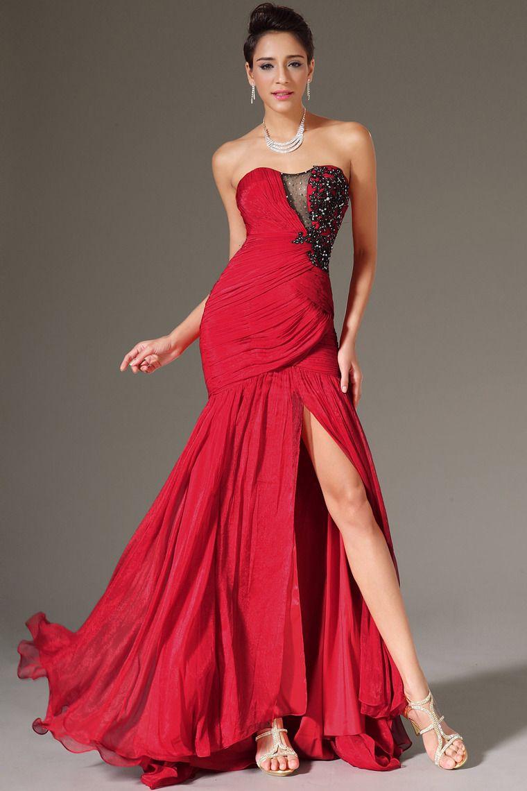 Long prom dresses ruffled bodice mermaidtrumpet court train