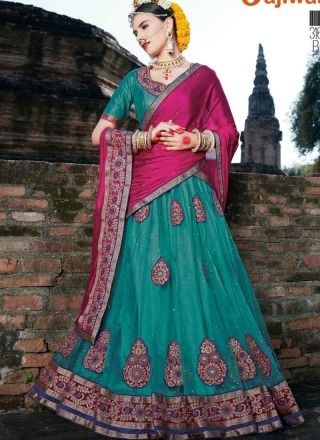 567bd08596 Sky Blue Magenta Embroidery Butta Work Net Designer Lehenga Choli  http://www.
