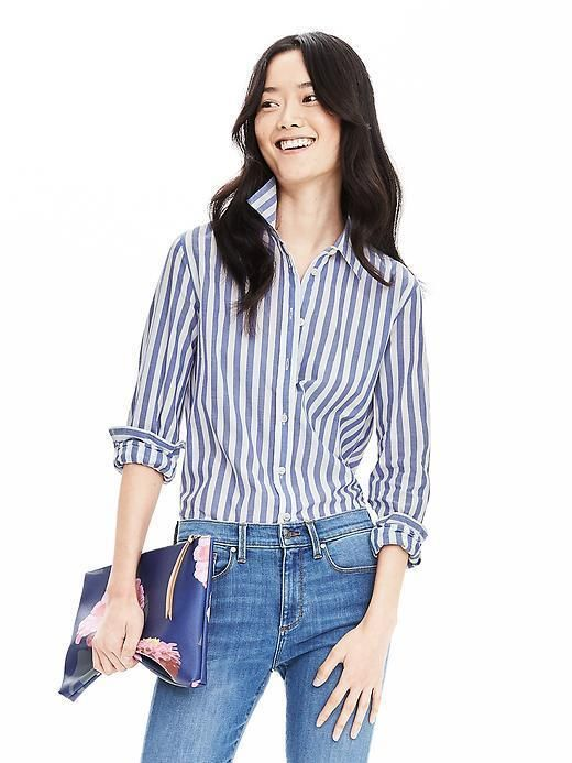 94423cfe Banana Republic DILLON-FIT VERTICAL STRIPE SHIRT , women, fashion,  clothing, clothes, style, summer style, spring