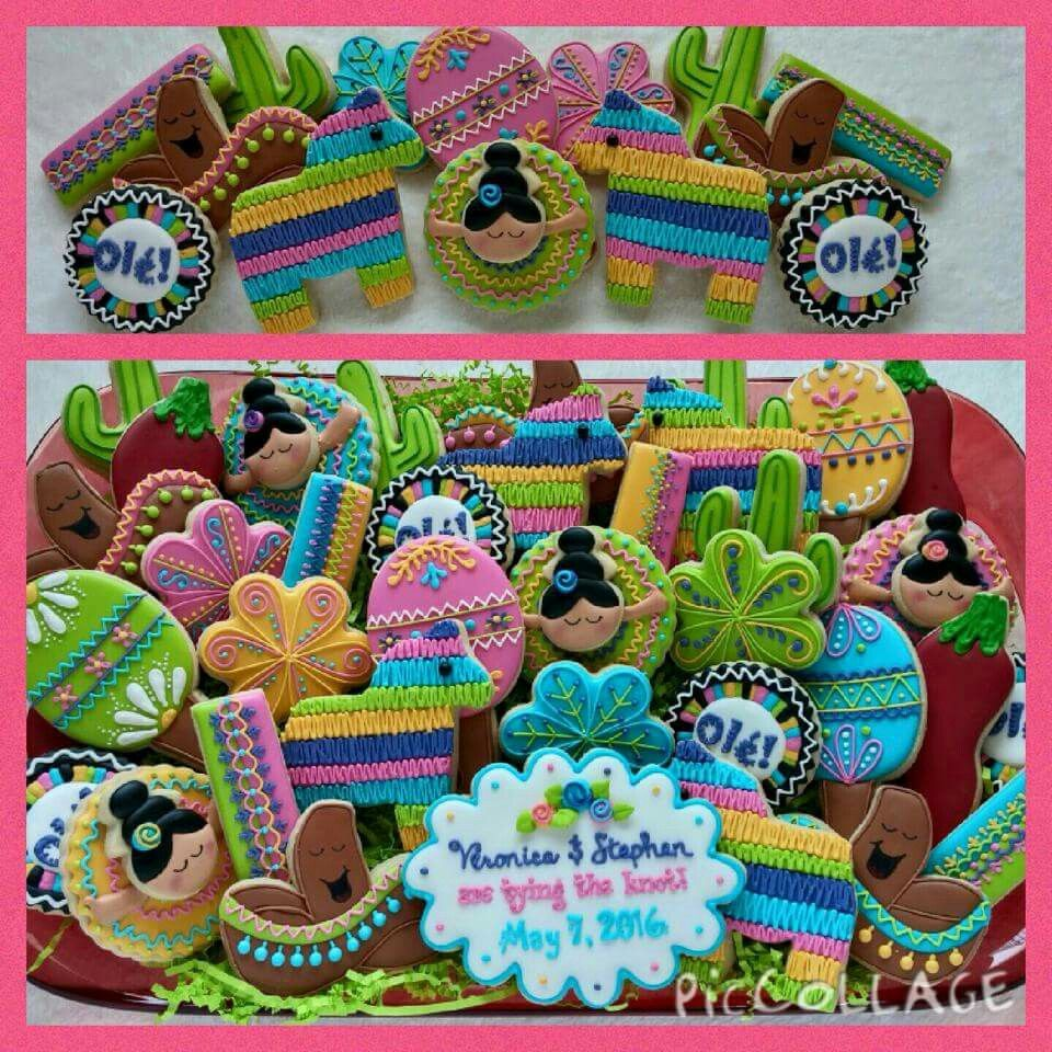 Barbara Amos Newlon: Spanish Fiesta theme decorated cookies. Original design by Rocking Horse Sugar Decor. Fabulous!!!!!