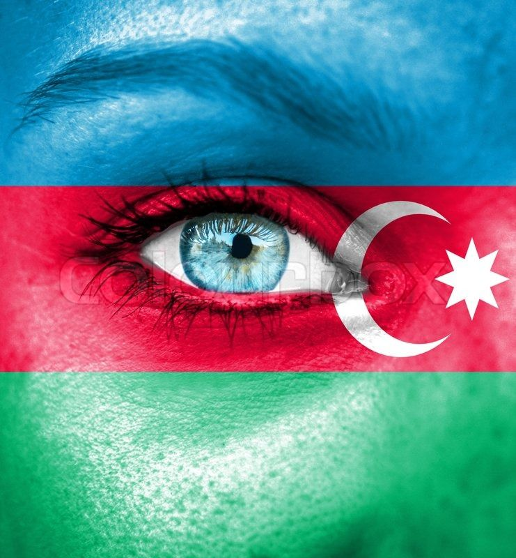 Stock Image Of Woman Face Painted With Flag Of Azerbaijan Azerbaijan Flag Azerbaijan Flag