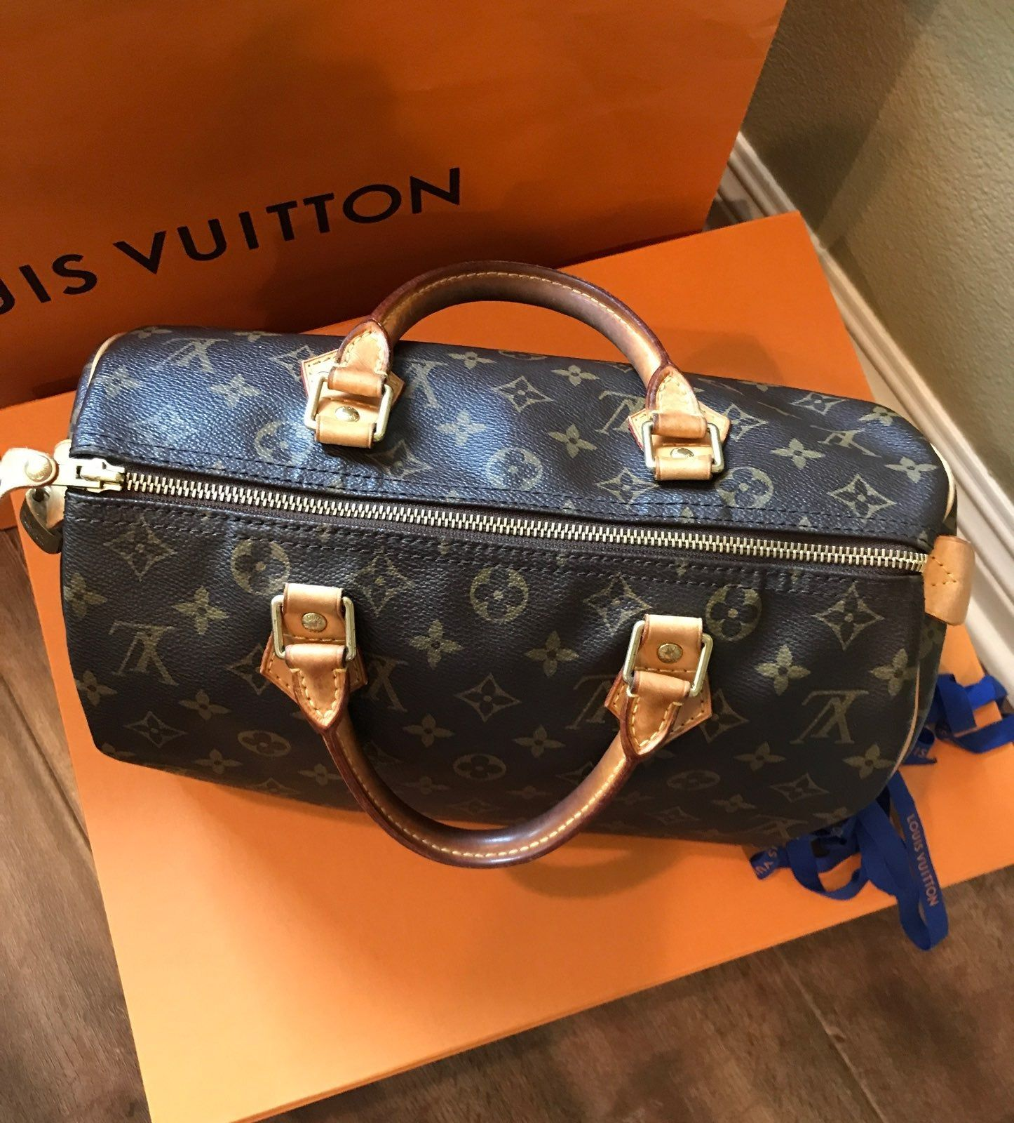 Preowned Preloved Authentic Lv Speedy In Great Condition Canvas Piping Zipper Leather All In Good C Fashion Tote Bag Louis Vuitton Handbags Louis Vuitton