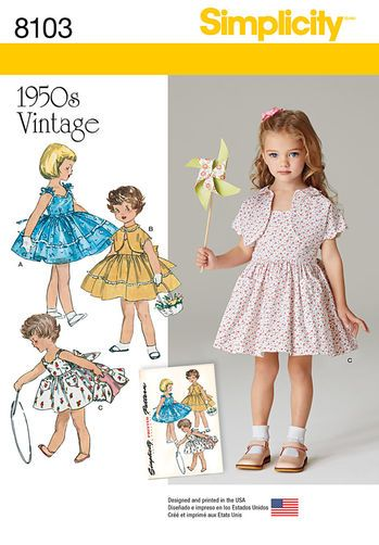 Pattern 8103 Child's Vintage 1950's Dress and Lined Jacket