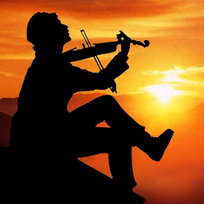 Perfect Fiddler Silhouette W/sunset