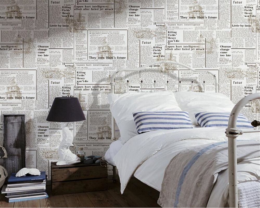 Beibehang Fashion Simple Wallpaper Nostalgic Newspaper In Eng