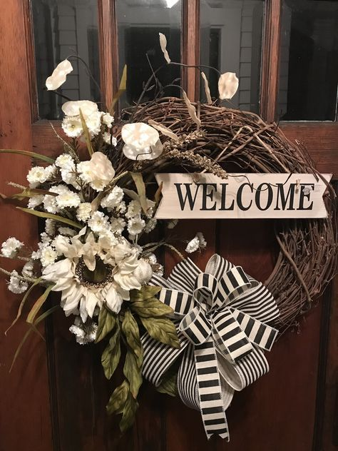 Photo of Spring Ivory Sunflower Grapevine Wreath for front door, wreaths, Fall wreath for front door, Summer farmhouse Wreath, Welcome Friends Wreath