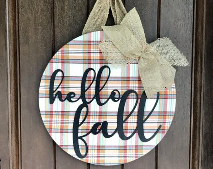 Fall Wreath, Fall Door Hanger, Hello Fall, Fall Door Decor, Autumn Door Wreath, Plaid Decor, Front Door Decor, Door Decoration, Fall Decor #hellofall