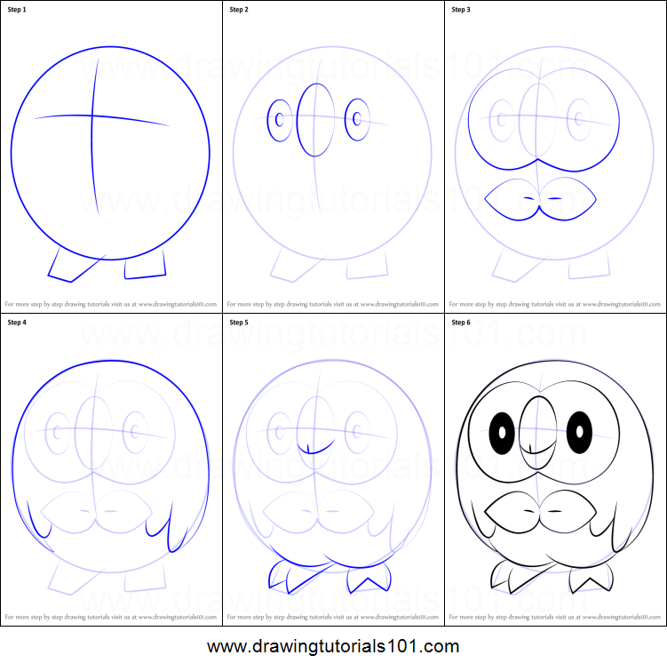 How To Draw Rowlet From Pokemon Printable Drawing Sheet By