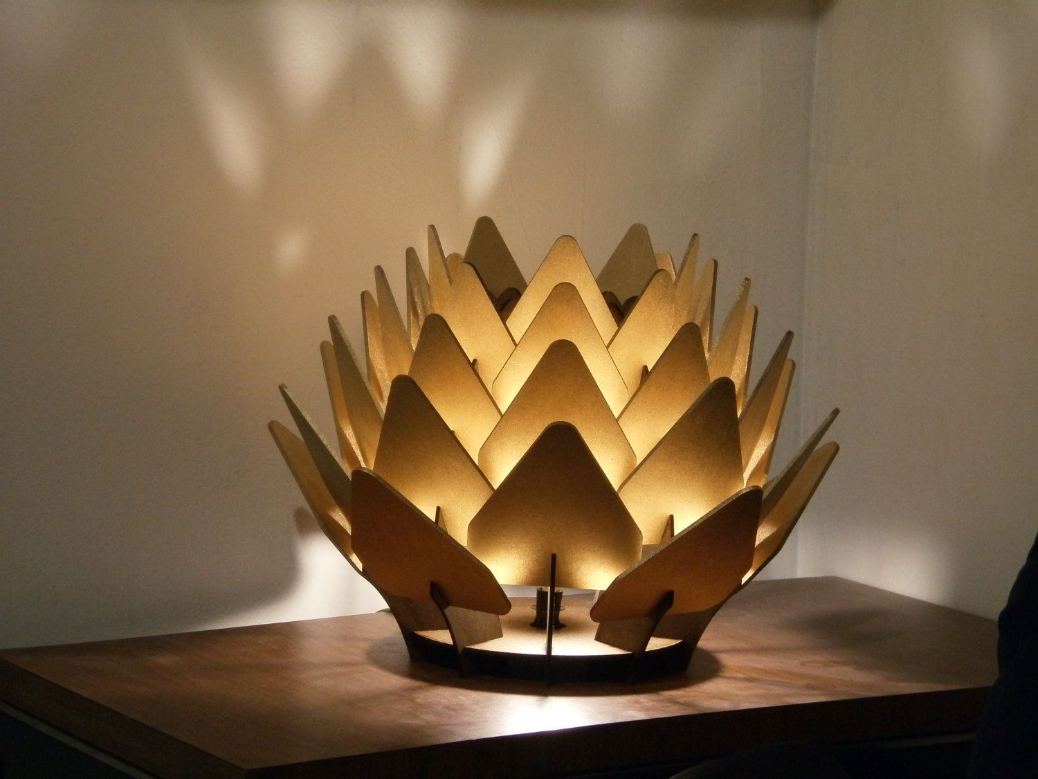 cynara table lamp geometric wood sculpture accent by sectorxero via etsy totems. Black Bedroom Furniture Sets. Home Design Ideas