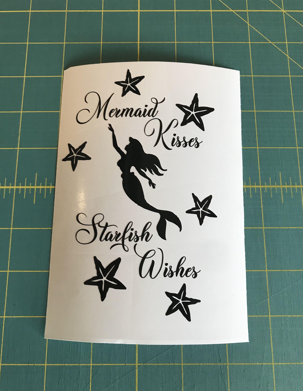 Mermaid Kisses And Starfish Wishes Decal Custom Vinyl Fairy Light Laptop Car Truck Window Sticker Truck Window Stickers Custom Vinyl Decal Custom Vinyl [ 3000 x 2319 Pixel ]