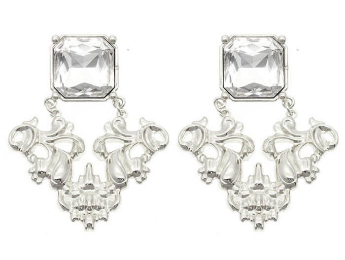 Earring Crystal Stone Post Pin Metal Detail Design 3 14 Inch Drop
