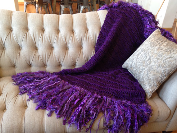 Deep Purple Blanket Throw Dark Home Decor Violet Eggplant Plum Amethyst Grape