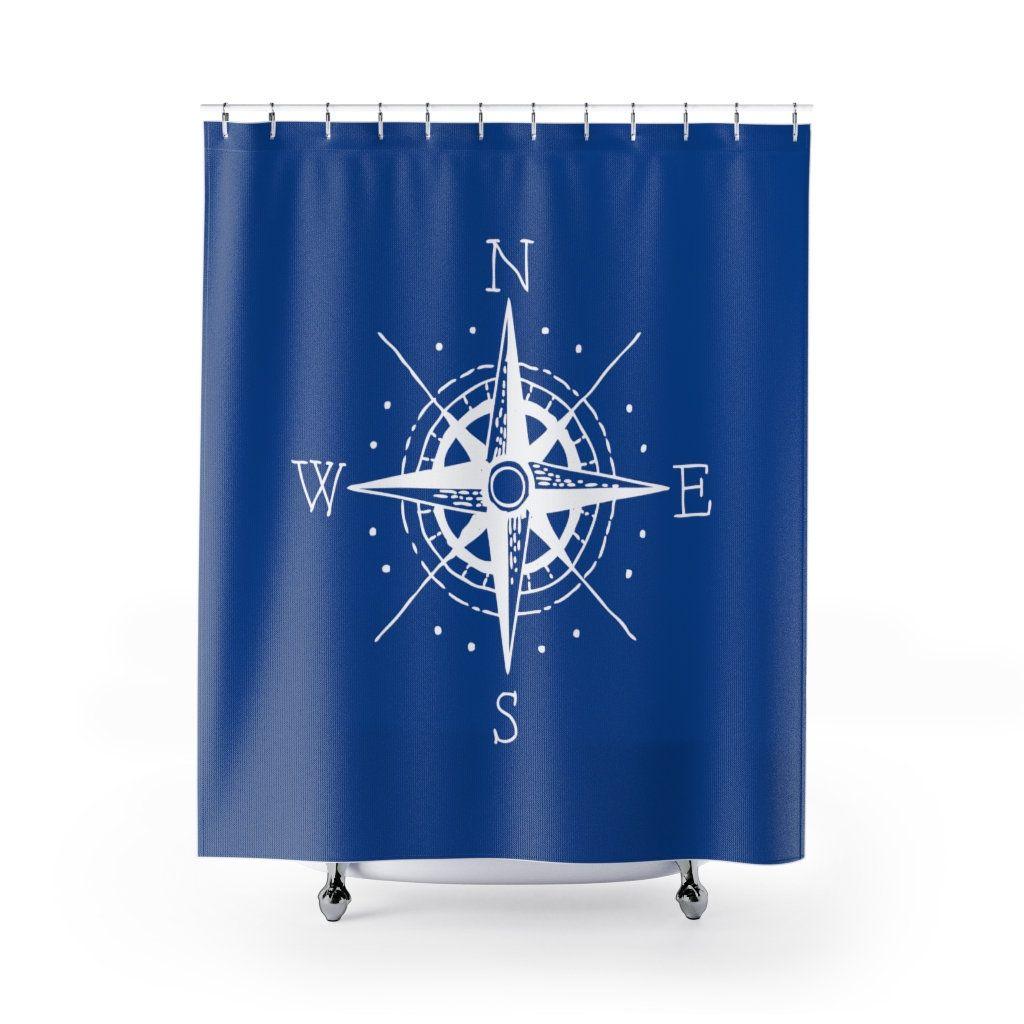 Nautical Compass Custom Modern Shower Curtain Beach House Decor