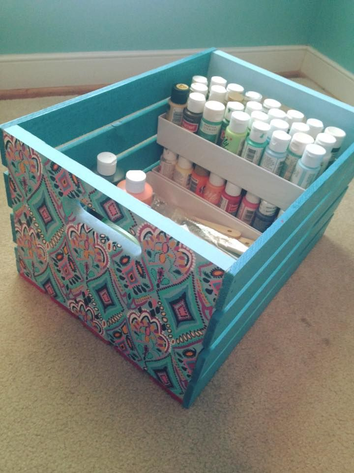 Using A Wooden Crate As A Craft Box Using The Box Dividers Craft Storage Sorority Crafts Craft Organization