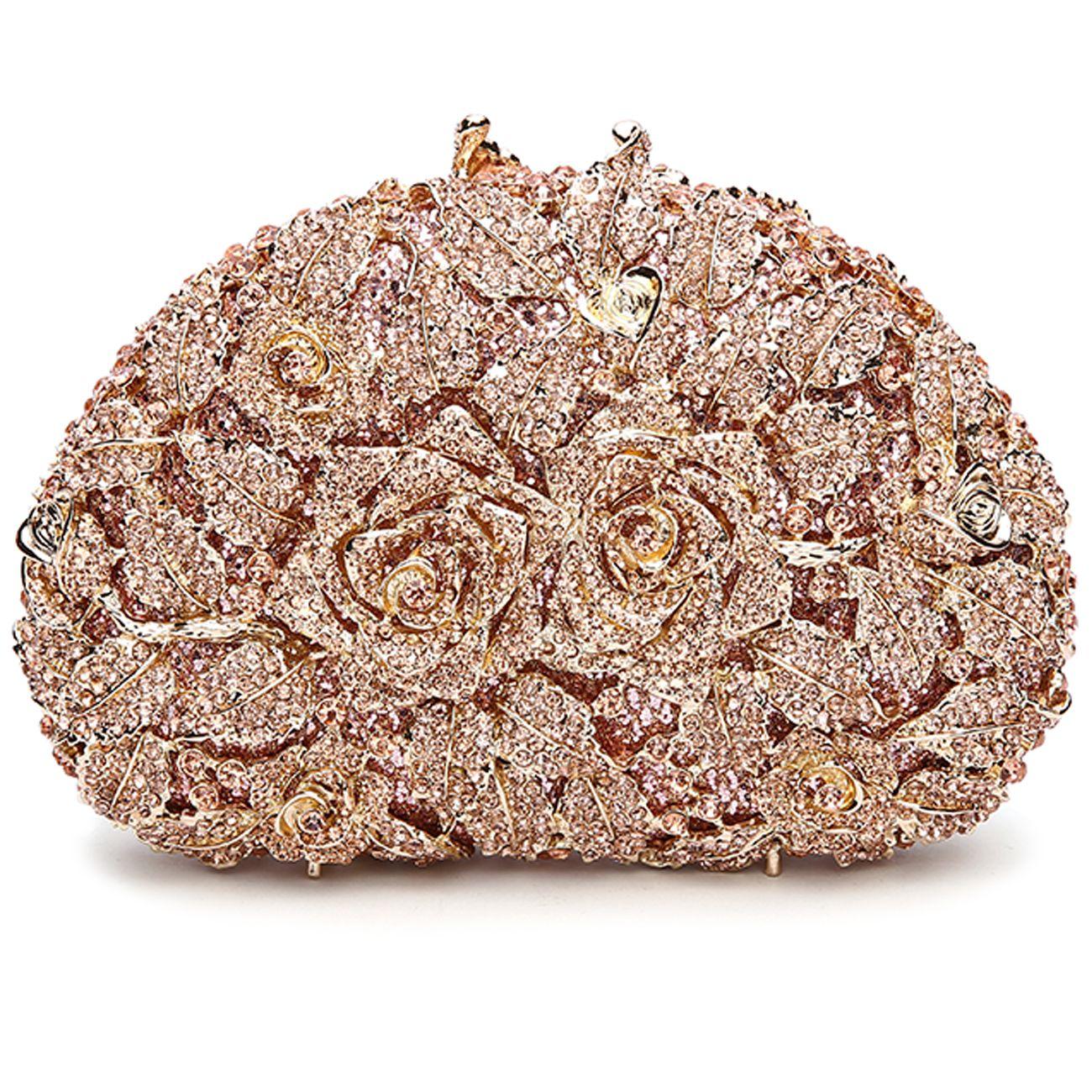 Rose Flower Rhinestone Clutch Bag  ef1b4634fe48