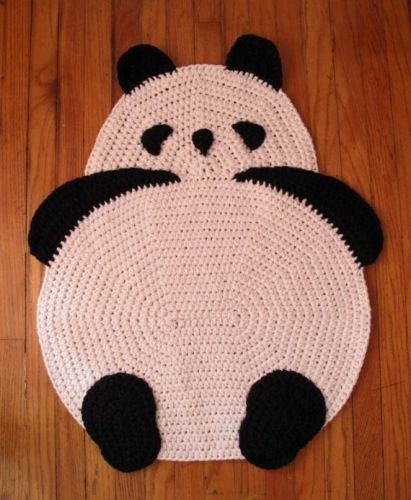 Delightful Crocheted Panda Rug. I Would Kill Whoever Treated It As A Rug And Stepped On