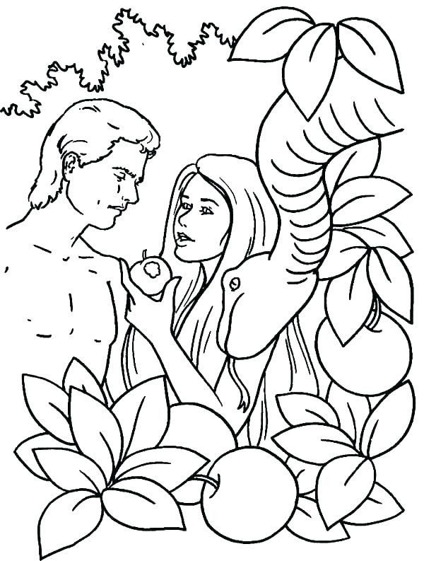 Adam and Eve Coloring Sheet Adam and Eve Printable