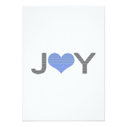 Joy  Heart  Black And Blue Card  Holiday Card Diy Personalize