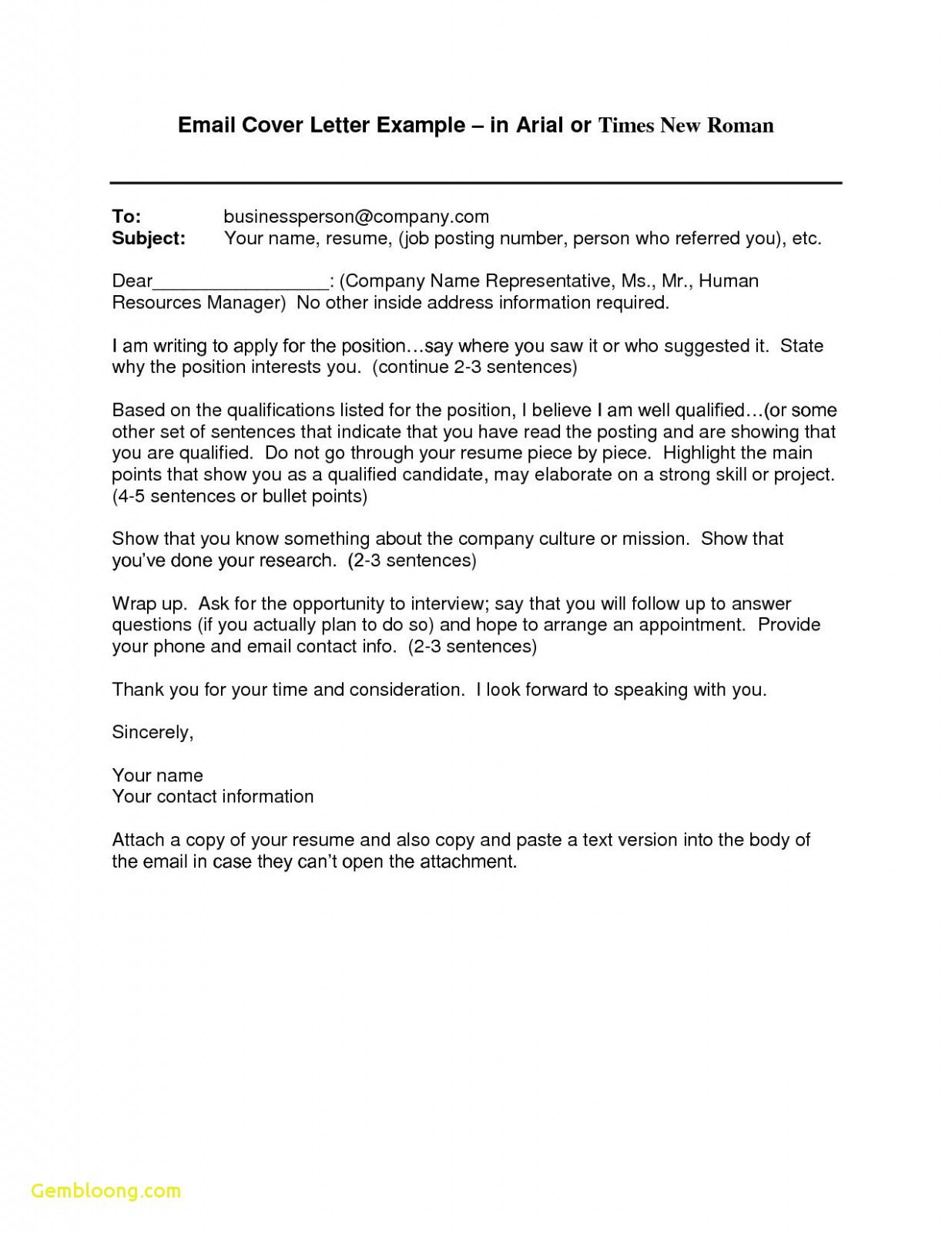 27+ Email Cover Letter Format | Resume Cover Letter Example ...