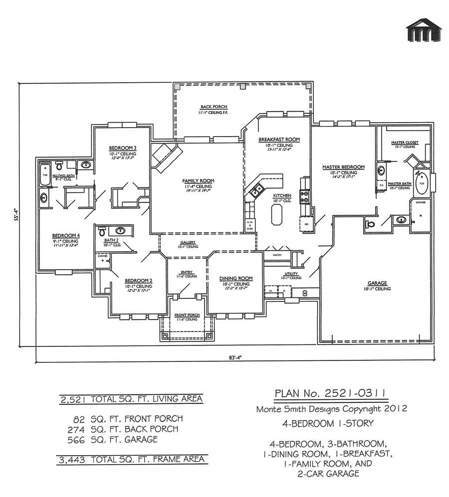 Family Room Floor Plan for your reference please see the layout of the livingfamily room below One Story Open Floor Plans With 4 Bedrooms Bedroom 1 Story 3 Bathrooms