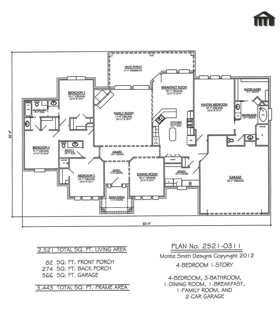 One Story Open Floor Plans with 4 bedrooms | Bedroom 1 Story - 3 ...