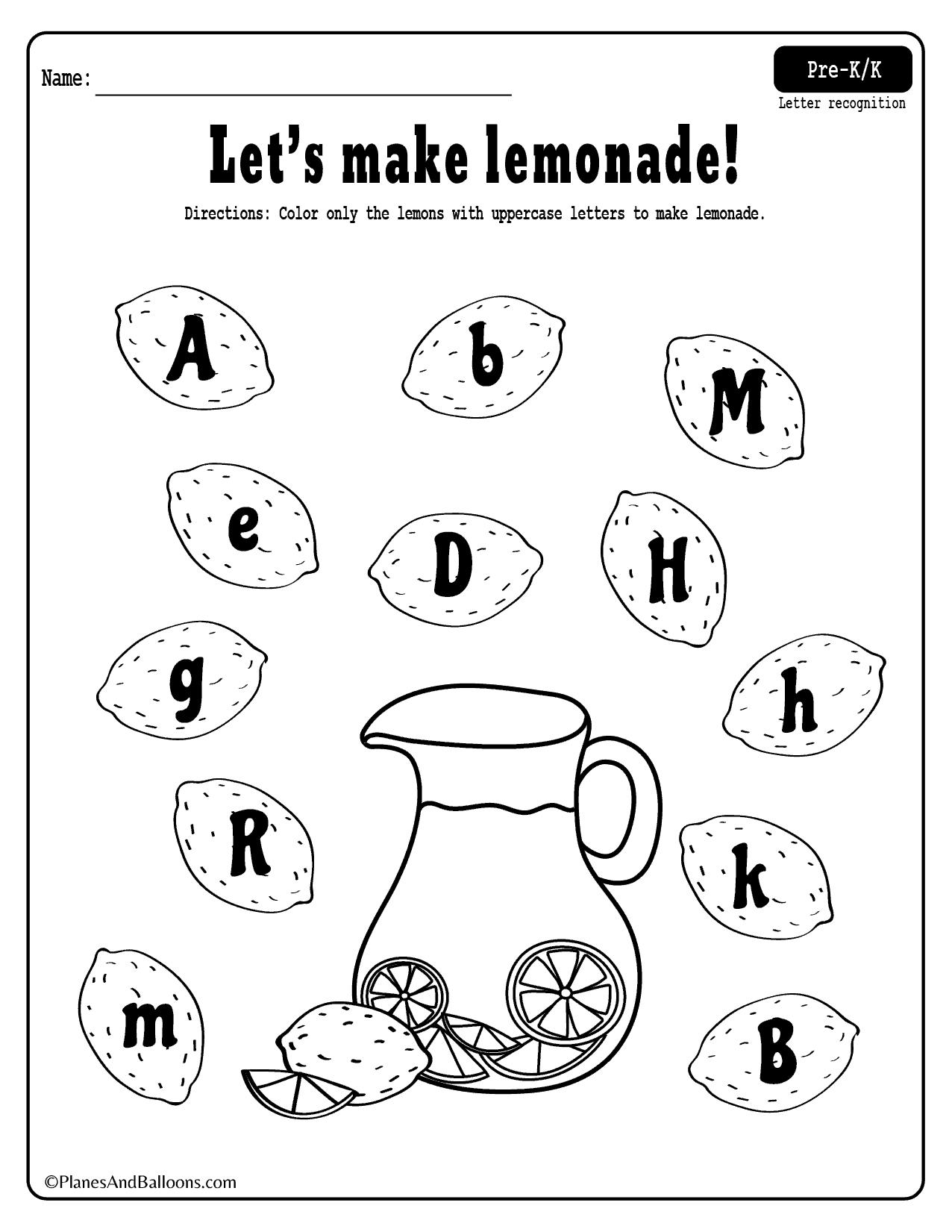 Summer Lemonade Fun Letter Recognition Worksheets Set