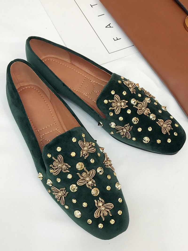 ae5401bd82a Green Velvet Beaded Bee Embellished Flat Loafer Dresses  Tops  Swimwear   Jeans  Jackets  Skirts  Shoes